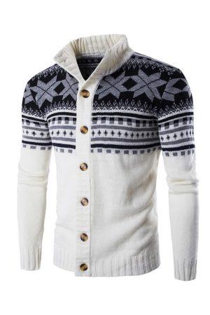 Gilet homme de Noël avec motifs flocons de neige - Blanc