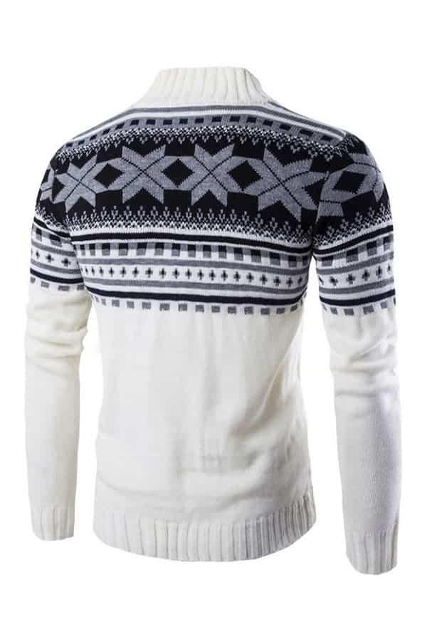 Gilet homme de Noël avec motifs flocons de neige - Blanc - Vue de dos