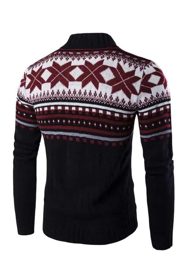 Gilet homme de Noël avec motifs flocons de neige - Rouge - Vue de dos