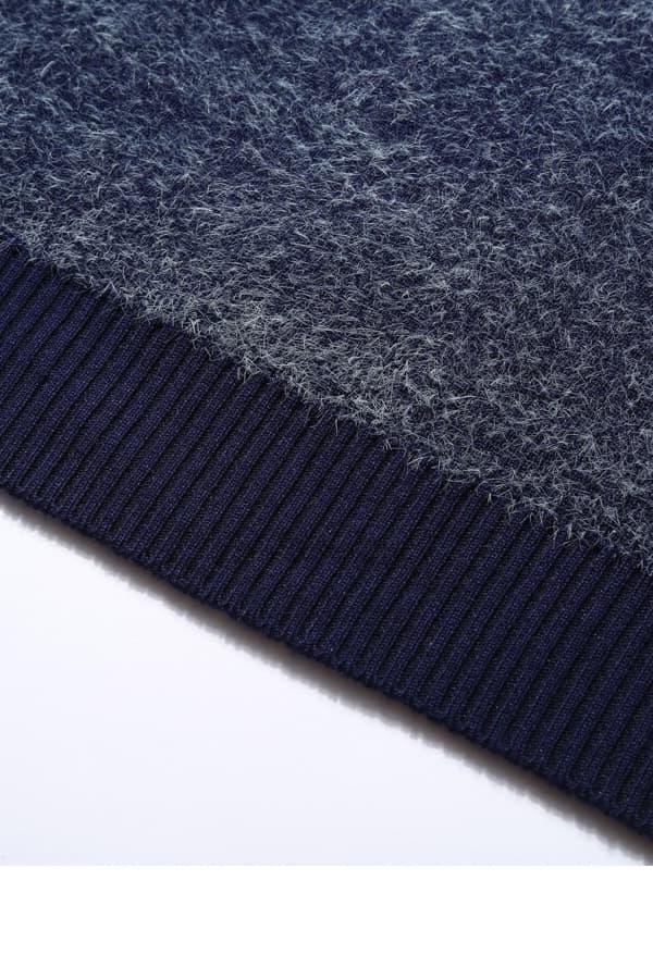 Pull Homme tricoté bleu & blanc renne et forêt - Détail Bas