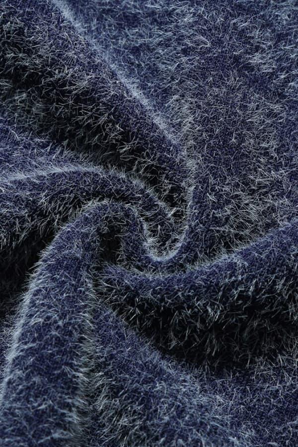 Pull Homme tricoté bleu & blanc renne et forêt - Détail Matière