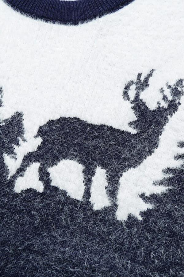 Pull Homme tricoté bleu & blanc renne et forêt - Détail