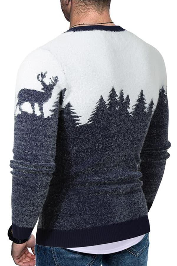 Pull Homme tricoté bleu & blanc renne et forêt - Porté Vue de Dos