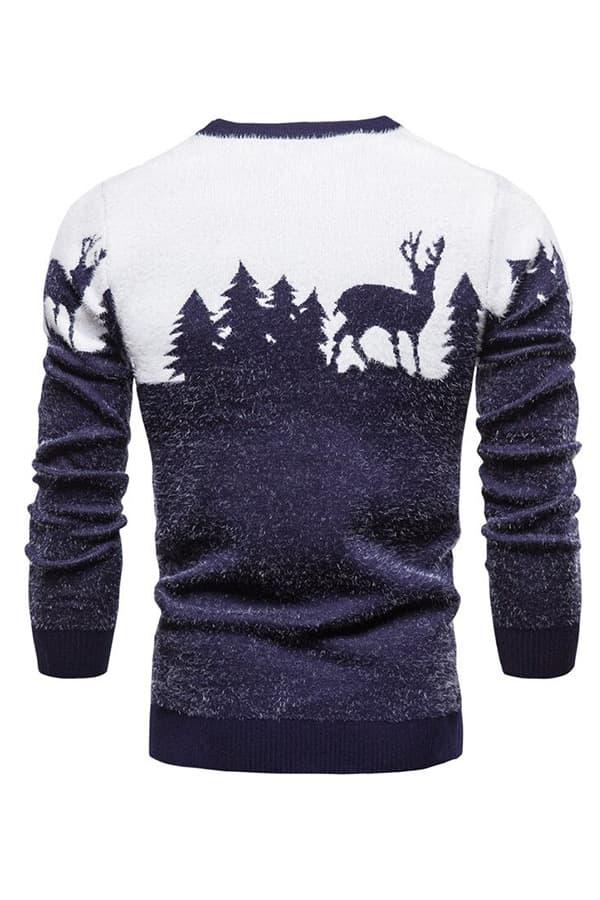 Pull Homme tricoté bleu & blanc renne et forêt - Vue de Dos