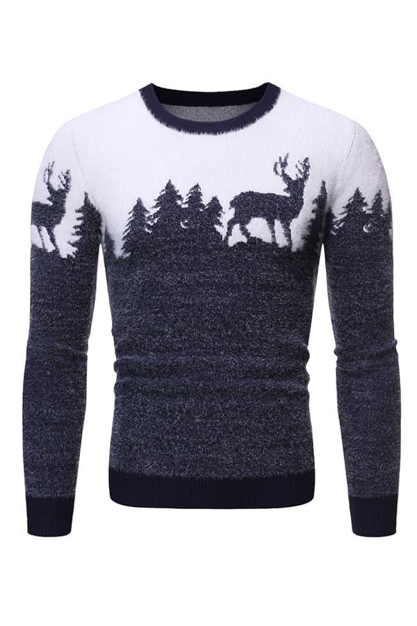 Pull Homme tricoté bleu & blanc renne et forêt - Vue de Face