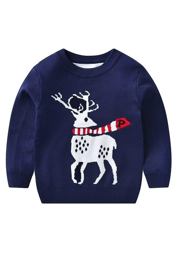 Pull Noël enfant tricoté renne bleu