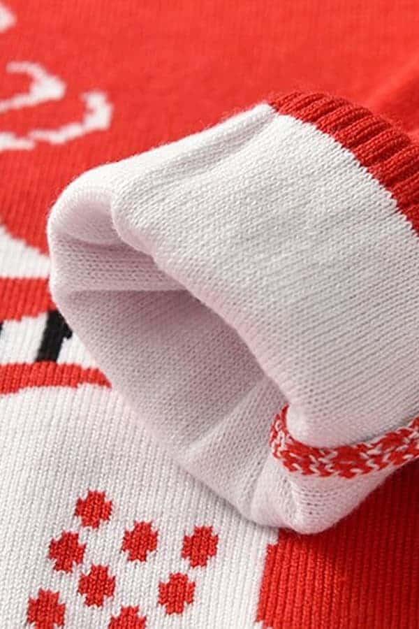 Pull Noël enfant tricoté renne rouge - Détail manche