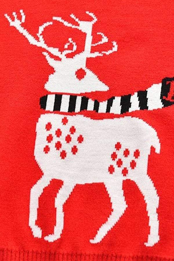 Pull Noël enfant tricoté renne rouge - Détail Renne