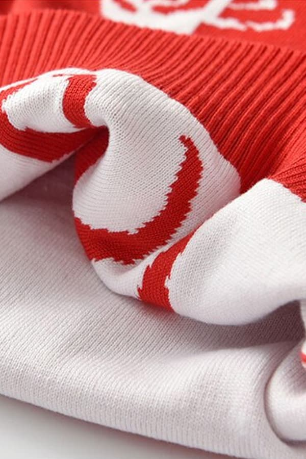 Pull Noël enfant tricoté renne rouge - Détail matière 2