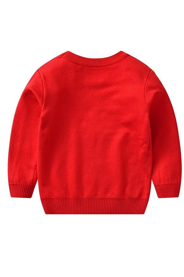 Pull Noël enfant tricoté renne rouge - Vue de dos