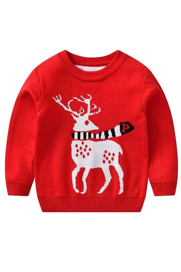 Pull Noël enfant tricoté renne rouge
