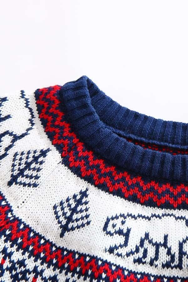Pull de Noël pour enfant Ours Polaire Bleu et Blanc - Détail Col