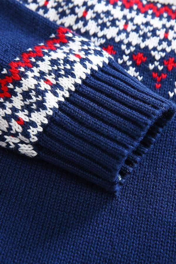 Pull de Noël pour enfant Ours Polaire Bleu et Blanc - Détail Manche