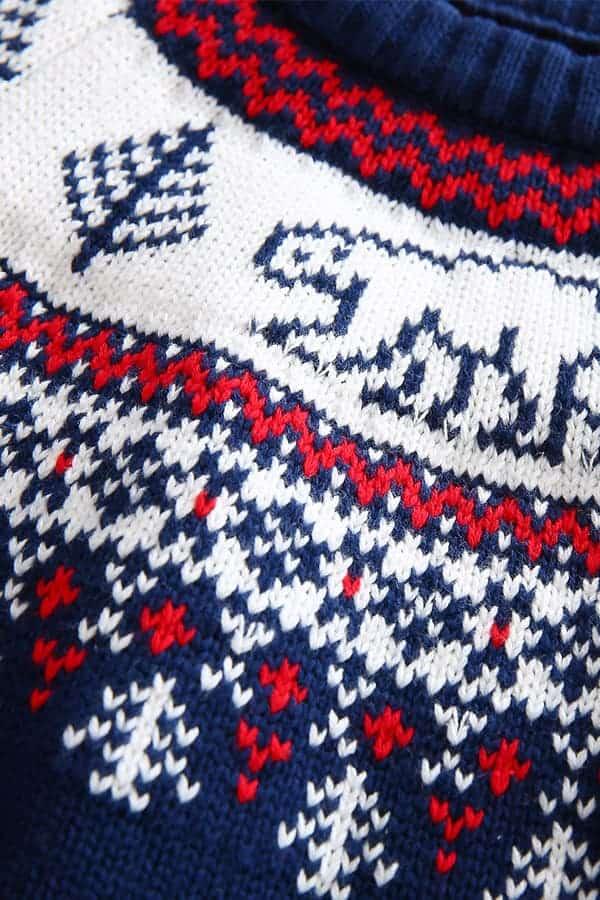 Pull de Noël pour enfant Ours Polaire Bleu et Blanc - Détail Ours