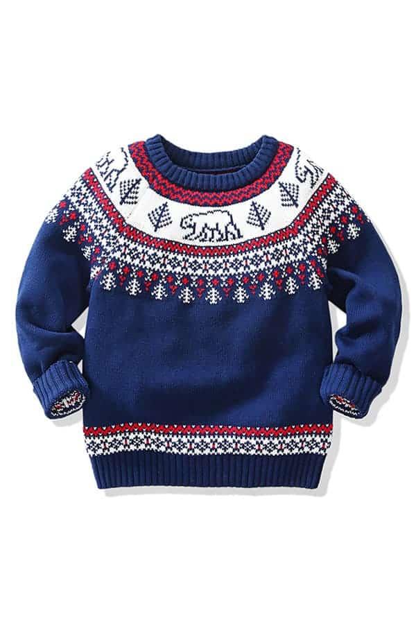 Pull de Noël pour enfant Ours Polaire Bleu et Blanc