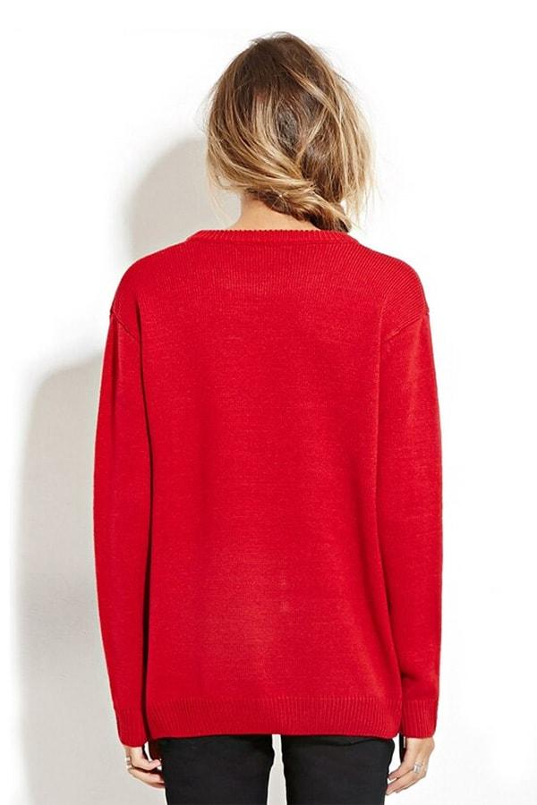 Sweatshirt femme rouge avec un bonhomme de neige et des sapins de noël - Vue de dos