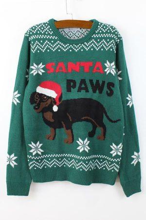 Pull moche de Noël chien bonnet - Vue de Face