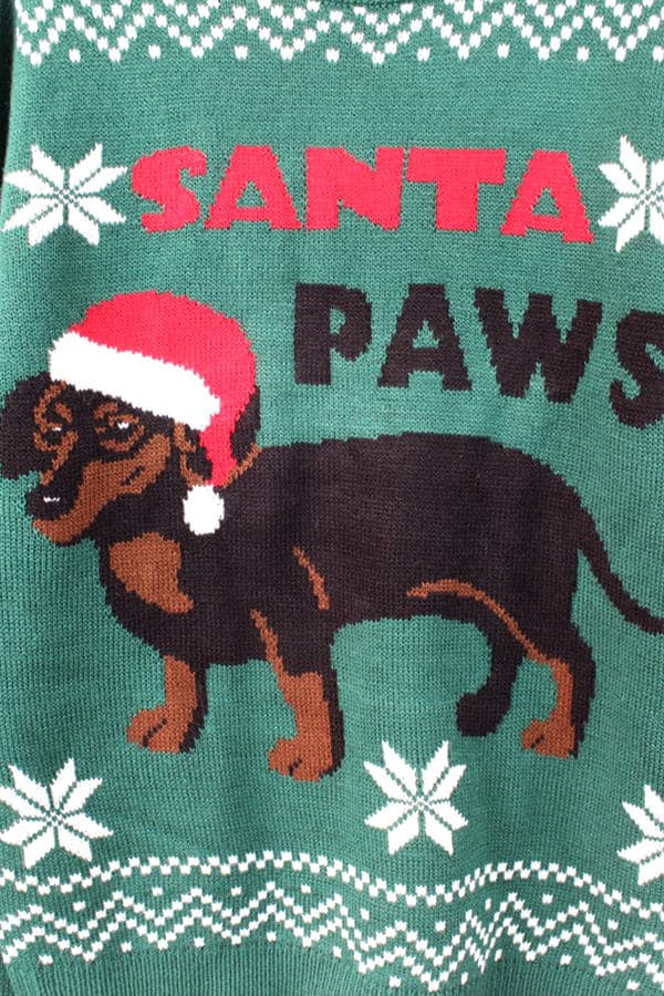 Pull moche de Noël chien bonnet - Détail