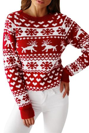 Pull moche femme renne flocons coeurs blanc porte situation