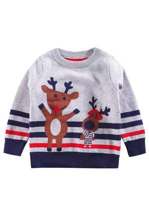 Pull Enfant de Noël Renne Gris & Bleu