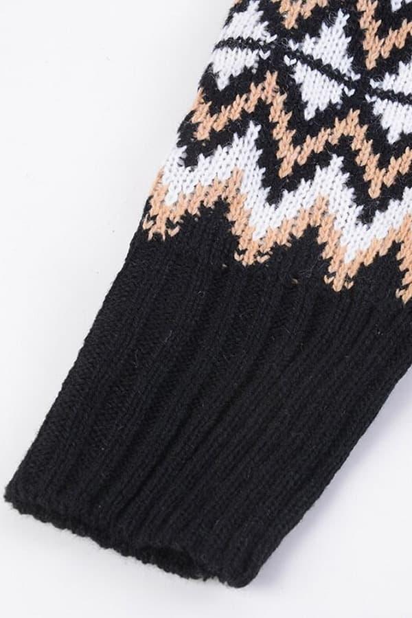 Pull Robe Femme Noire - Détail Manche
