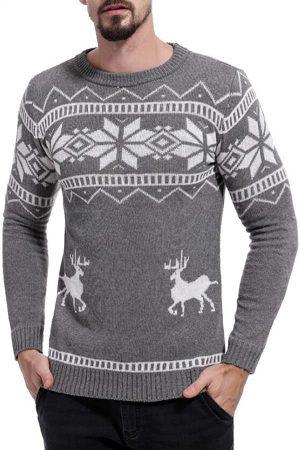 Pull tricoté gris flocons homme
