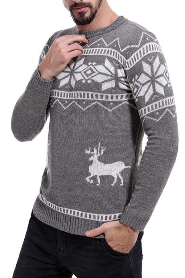 Pull tricoté gris flocons homme - Vue de coté