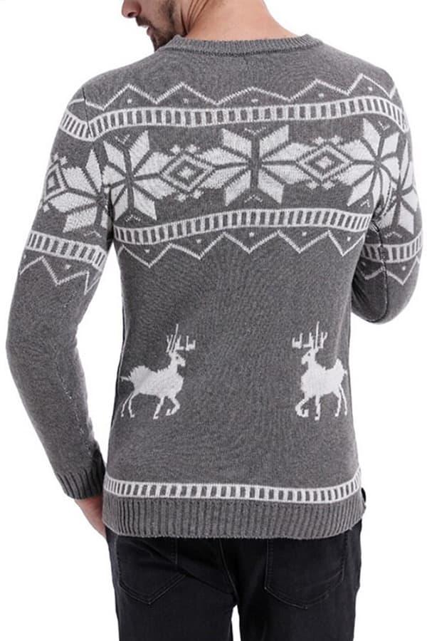 Pull tricoté gris flocons homme - Vue de dos