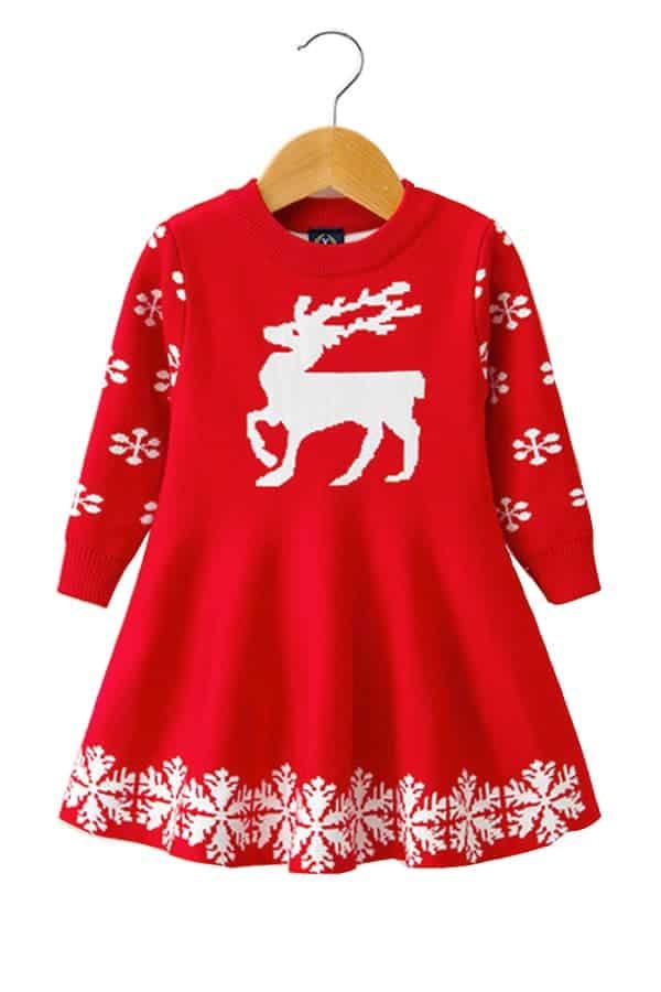 Robe de Noël Rouge Renne et Flocons