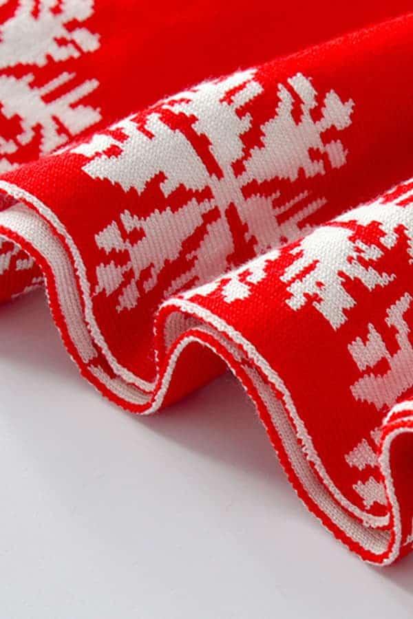 Robe de Noël Rouge Renne et Flocons - Détail 2