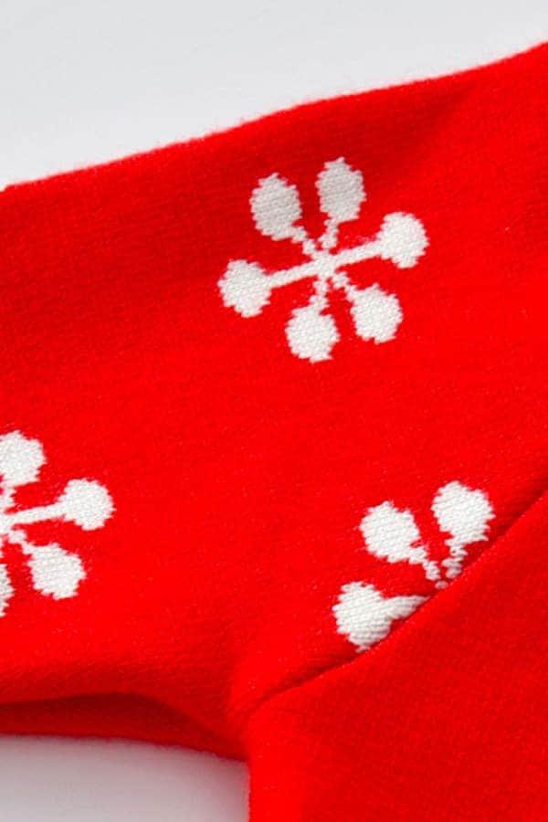 Robe de Noël Rouge Renne et Flocons - Détail 3