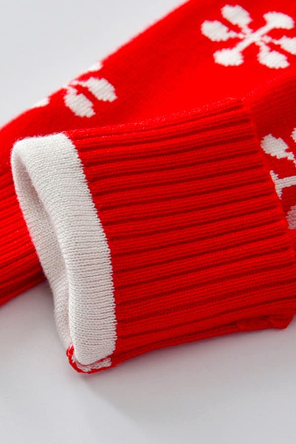 Robe de Noël Rouge Renne et Flocons - Détail Manche