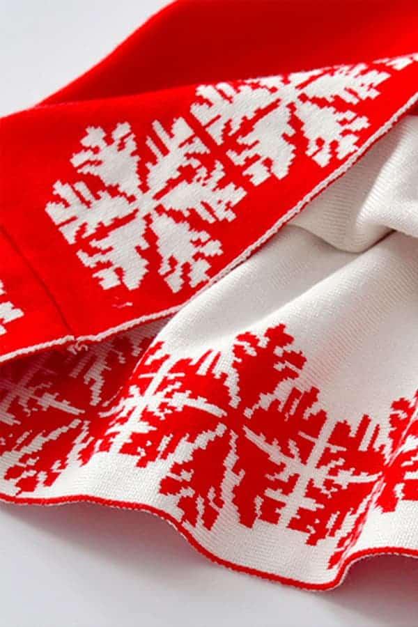 Robe de Noël Rouge Renne et Flocons - Détail