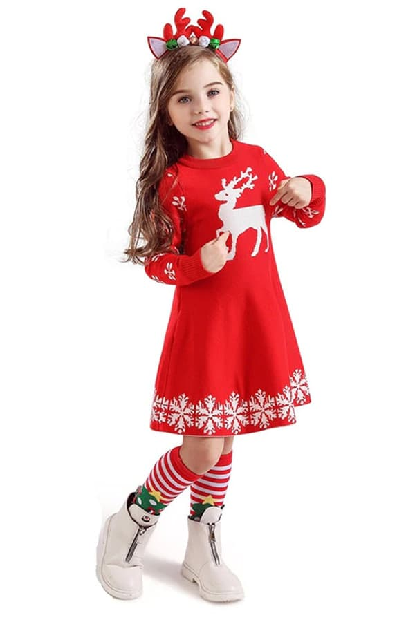 Robe de Noël Rouge Renne et Flocons - Portée