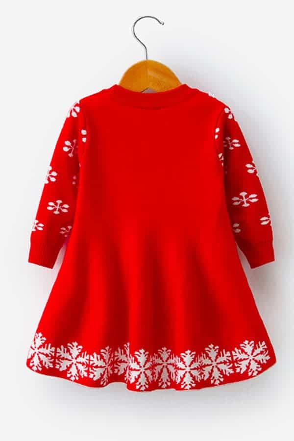Robe de Noël Rouge Renne et Flocons - Vue de Dos
