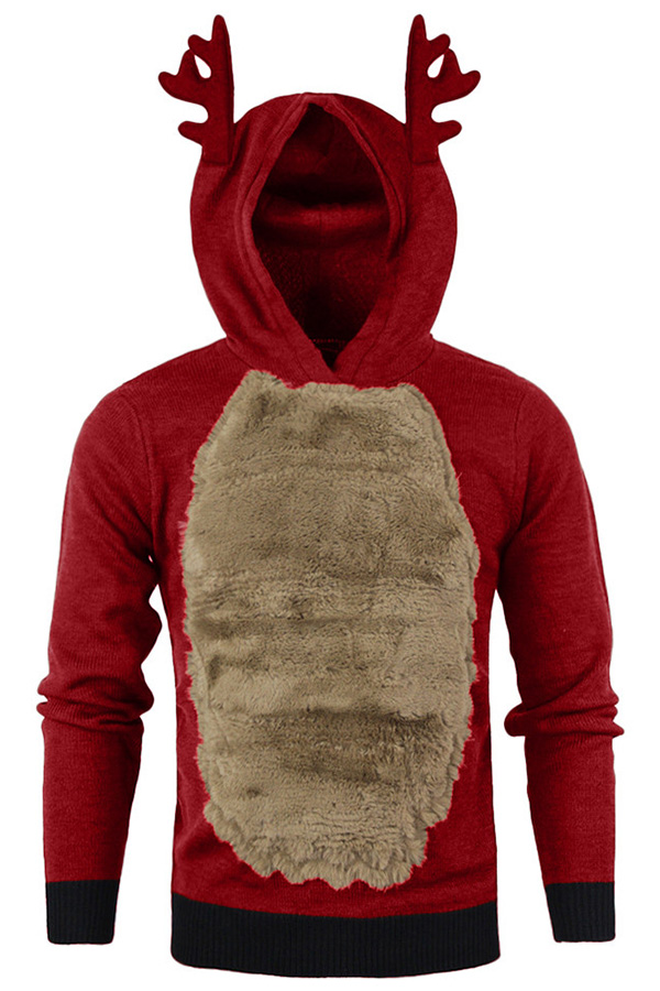 pull Renne capuche rouge