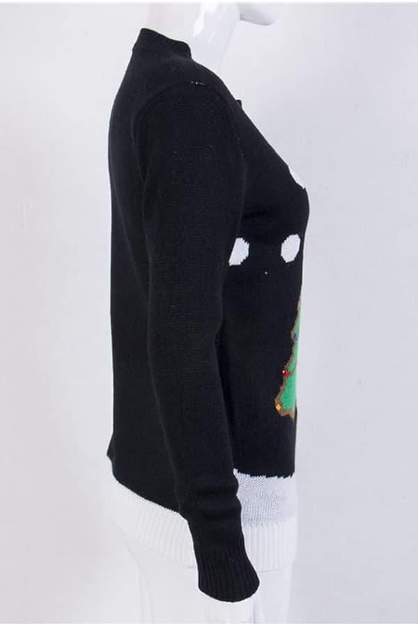 Pull moche femme avec un sapin de Noël et des flocons - vue de coté