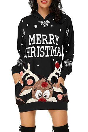 Pull Robe Femme Noire Merry Christmas