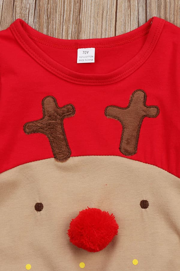 Grenouillère Bébé de Noël Rouge et Marron Renne - Détail