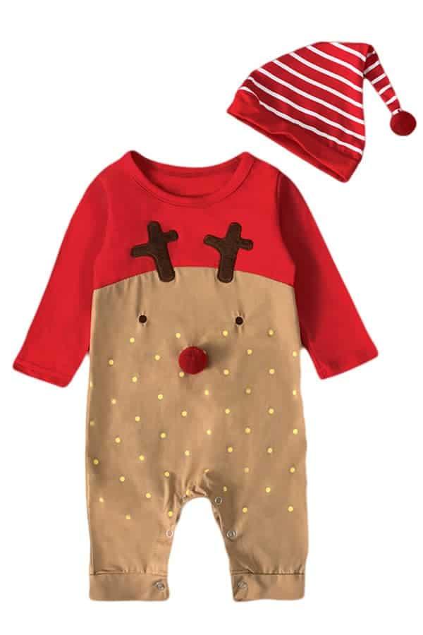 Grenouillère Bébé de Noël Rouge et Marron Renne