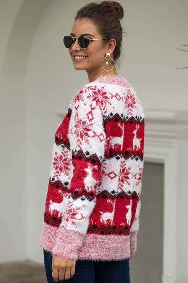 Pull Femme Blanc, Rouge & Rose Flocons - Vue de coté