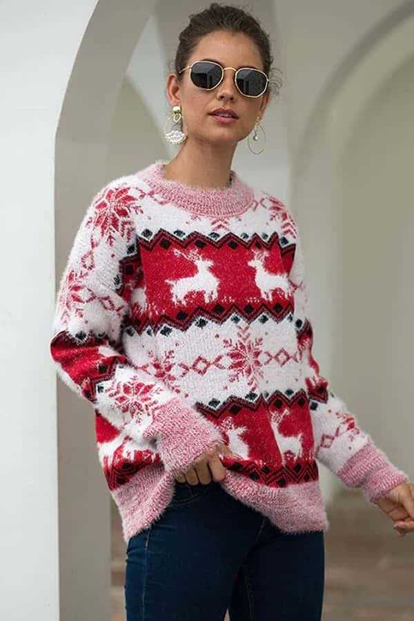 Pull Femme Blanc, Rouge & Rose Flocons - Vue de Face