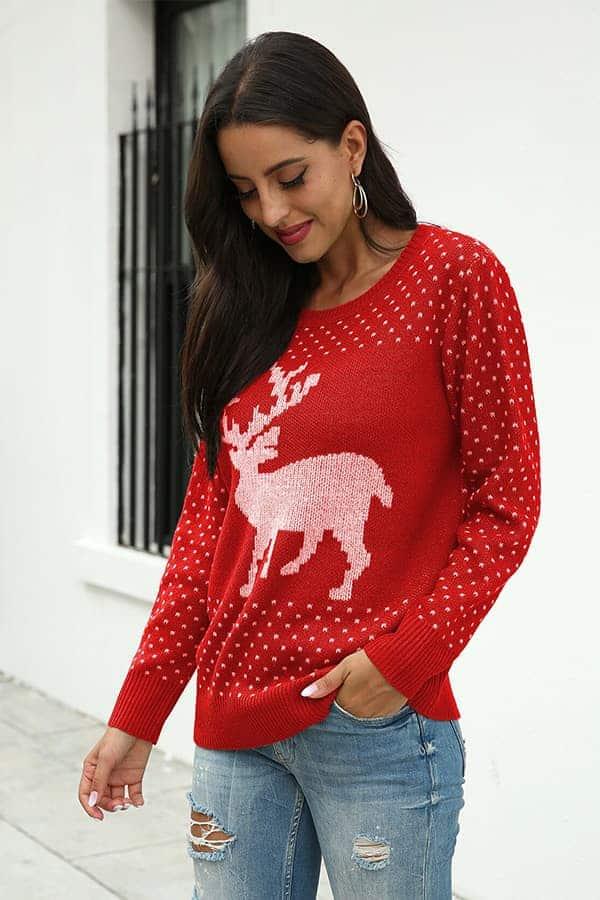 Pull Femme Noël Rouge Grand Renne - Vue de Face 2