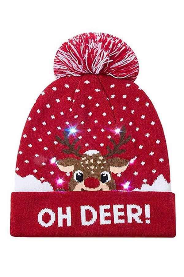 Bonnet de Noël renne Rouge Oh Deer