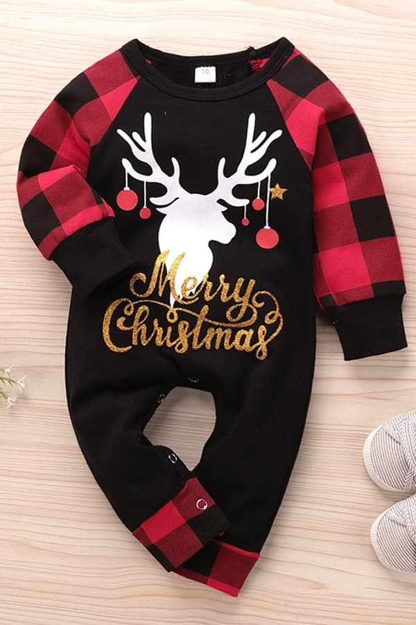 Grenouillère de Noël Bébé Merry Christmas - Vue de Face