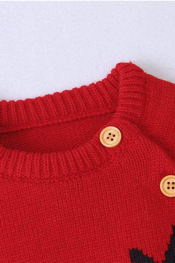 Grenouillère Bébé de Noël Rouge et Grise - Détail